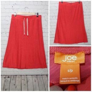 2x$20 Joe fresh calf length bright coral skirt sm